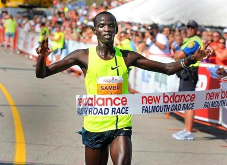 Stephen Sambu had a tough start but he turned on the gas at Mile 4 and never looked back in claiming his victory.